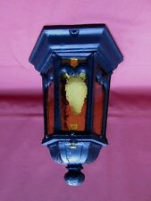 1910s ARTS & CRAFTS PORCH FIXTURE W/ AMBER RIPPLE GLASS