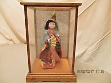 Authentic Vintage Japanese Glass-Eyed Geisha Doll With Glass/Wooden Case!! Nice!