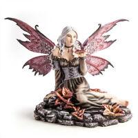 Fairy IN Blumen Rock Teich Mit Winzig Drachen