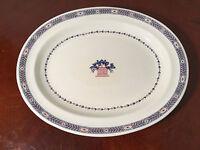 "Vintage WEDGWOOD ""BOSTON"" Etruria, England 14.5"" Oval Platter Blue, Red, White"