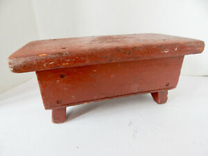 ANTIQUE SMALL STEP STOOL WITH ORIGINAL OX BLOOD RED BARN PAINT 5''HIGH12''LONG