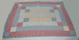1 Ralph Lauren Patchwork Red Blue Beige Quilted Standard Sham Stripe Check