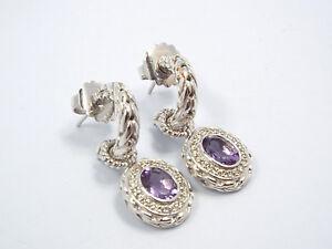 John Hardy Batu Mata Sterling Silver Amethyst & Diamond Halo Dangle Earrings