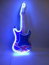 Union Jack Flag Neon Guitar Wall Clock - Blue Light Gadget Shop Man Cave Retro