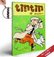 Tintin Y nevadas Cartel Retro Vintage Comic Diseño 30x21cm Estampado Hogar Decoración De Pared