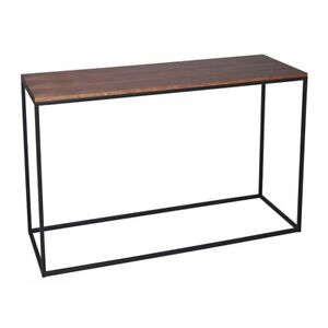 Gillmore Walnut and Black Metal Contemporary Console Table