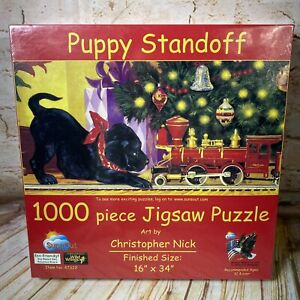 NEW Puppy Standoff Christmas 1000 Piece Jigsaw Puzzle Chistopher Nick Dog Train