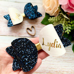 Set Of 2 Large Personalised School Hair Bows Any Colour, Girls Glitter Bow Clips