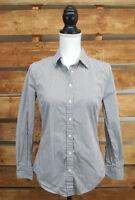 GAP Womens Striped White Blue Button Up Long Sleeve 100% Cotton Shirt - Size Sm