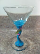 HAND PAINTED MARGARITA GLASS 8 OZ. CAPACITY-CLEAR MARTINI BUTTERFLY