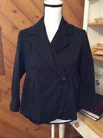 Style & Co Petite BLACK Stretch Peplum 3/4 Sleeve JACKET Blazer size M P