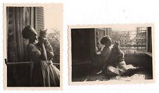PHOTO ANCIENNE Snapshot Cat Chat Fenêtre Jeu de lumière Lot 2 photos 1944 Femme
