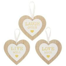 small mini wood heart hanging wall sign laugh often,live well, love much