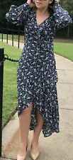Chelsea Violet Anthropologie Dress Maxi Small High Low Long Sleeve Blue New $138