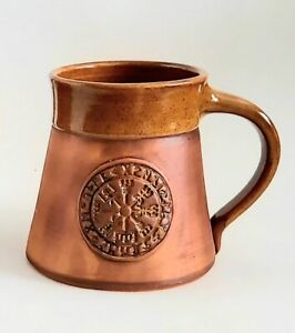 Viking Compass Mug Vegvisir Ceramic Tankard 13.5oz Viking Design Handmade Cup