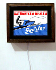 Sno Jet Snojet Snowmobile Racing Dealer Sales Service Retro Light Lighted Sign