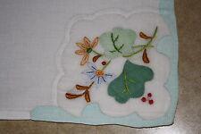 Antique Vintage Appliqued Linen Napkins Spring  Jadeite  Set of 12