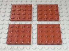 Lot 4 plaques plates RedBrown 4x4 LEGO ref 3031 / Set 8702 8877 10193 7041 10144
