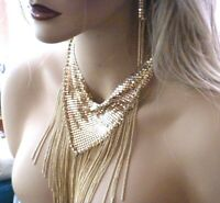 Mesh Women Necklace & Earrings New Gold
