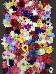 50 Mixed Flower Heads Joblot Artificial Silk Flowers Wedding Craft Art Fake Rose