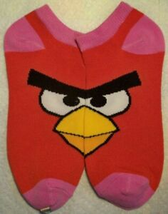 Rovio Ankle Angry Birds Women Large 9-11 Red Pink Casual No-Show Low-Cut Socks