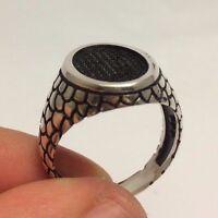 Turkish Ottoman Jewelry Oval Nice Black Zircon 925K Sterling Silver Men's Ring