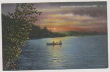 USA postcard - Sunset on Lake Coeur d'Alene, Idaho