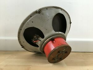 """GOODMANS 12"""" 15 Ohm Vintage RED Alnico Speaker Driver Working but Cone Repaired"""