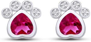 Simulated Ruby Paw Print Pet Love Heart Stud Earrings In 14k Gold Over