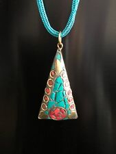 crocheted wire rope chain Handmade aztec pendant necklace, turquoise
