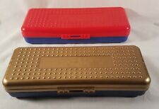 Vintage SpaceMaker Pencil School Boxes Plastic Gold Red Top Solid Blue Bottoms