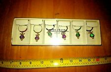 Pier One Imports Wine Glass Ring Charms Set Of 6 NIB