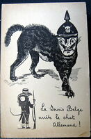 GERMANY ~ BELGIUM ~ WWI ~ 1900's LA SOURIS BELGE ARRETE LE CHAT ALLEMAND!