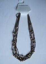 "Croft & Barrow Antique Brass Copper Tone Chain & Multi-sized Bead 20"" Necklace"