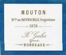 PAUILLAC 1EGCC VIEILLE LITHOGRAPHIE CHATEAU MOUTON ROTHSCHILD1878 RARE§01/01/17§