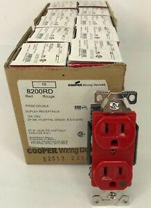 NEW BOX of 10 Cooper 8200RD Duplex Receptacle Hospital Grade