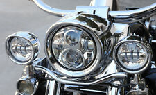 """4-1/2"""" Chrome LED Auxiliary Spot Fog Passing Lights Lamps Pair Harley Motorcycle"""