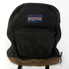 JanSport Black Backpack Day Pack School Bag with Suede Leather Bottom