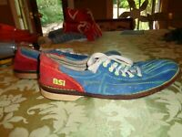 Vintage BSI Rental Bowling Shoes Blue Red suede leather SIZE Men's  8 women 9.5