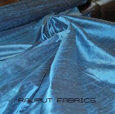 100% Natural Silk Dupioni Fabric Lynos Blue Luxurious Textured (BY THE YARD SALE