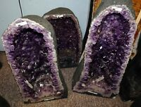 BEAUTIFUL BRAZILIAN AMETHYST CRYSTAL CATHEDRAL CLUSTER GEODE PAIR THE VERY BEST!