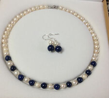7-8mm Real White Akoya Cultured Pearl/Lapis Lazuli necklace earrings set