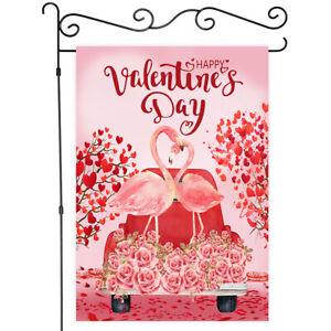 Valentine's Day Flamingo Garden Flag House Decor Yard Banner Linen Double-sided