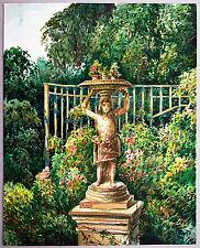 Sommergarten in Dresden mit Skulptur Aquarell 1941 Paul Groß (1873-1942 Dresden)