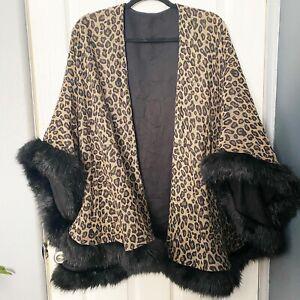 Rare Vintage I. Magnin Faux Fur Trim Leopard Print Wool Poncho/Cape 1980's