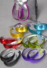 LOT OF 12 OVAL LOOP DROP HOOP EARRING METALLIC SHINY PURPLE PINK BLUE GREEN GREY