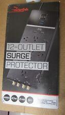Rocketfish- 12-Outlet/2-USB Surge Protector Strip - Black [3E]