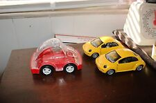 2-1999 SMART TOYS YELLOW VOLKSWAGEN VW BEETLE CAR DIECAST & plastic VW bank