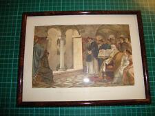 Antique print Nijmegen 1880 framed Valkhof chapel Charlemagne Karel de Grote