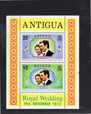 ANTIGUA #321-322a  1973  WEDDING OF PRINCESS ANNE  MINT  VF LH  O.G S/S